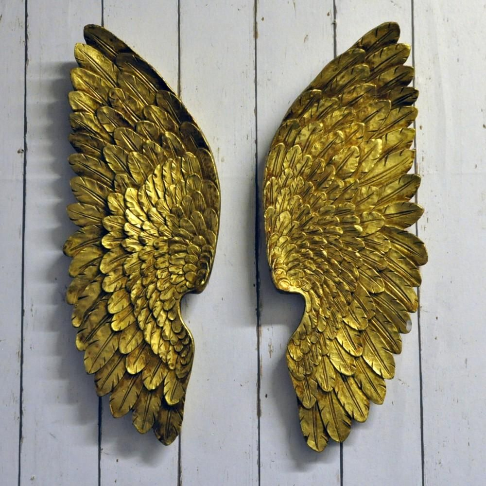 Antique Gold Left & Right Wings Large decorative gold coloured resin ...