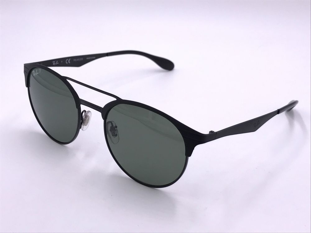 60d9c38e0e984 RAY BAN Round RB3545 186 9A POLARIZED Green Classic G-15   Matte Black  AUTHENTIC