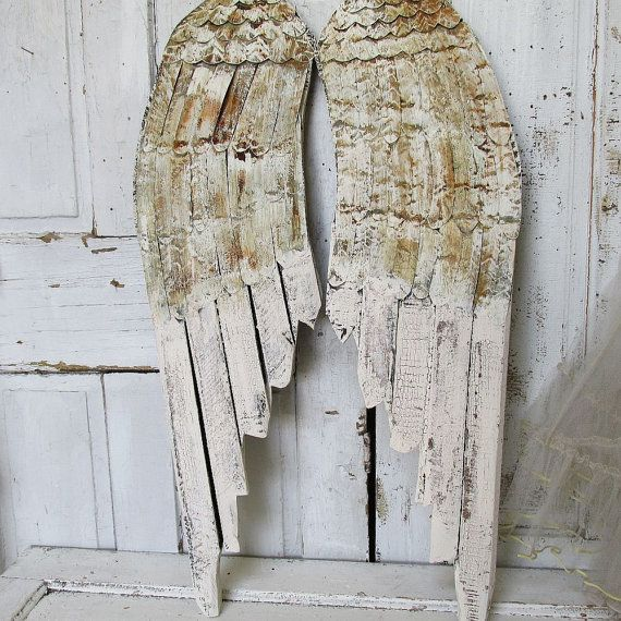 Off White Angel Wings, Wood And Metal Wings, Angel Wing Wall Decor, Painted