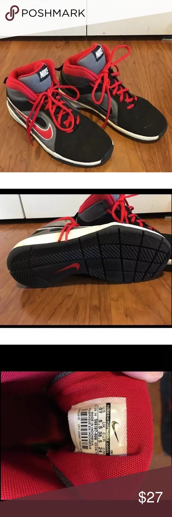 a0f52c57ef7d Nike Team Hustle Boys Basketball Shoes Sz 6y Kids Excellent Condition.  Black Gray Red with Red laces. Nike Team Hustle D6 boys basketball shoes  size 6y Nike ...