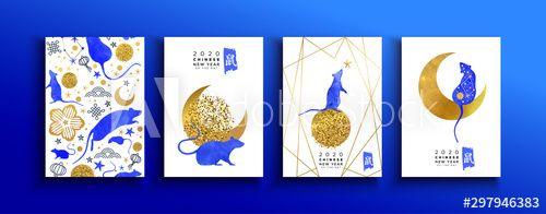 Chinese new year of rat watercolor gold card set - Buy this stock vector and explore similar vectors at Adobe Stock