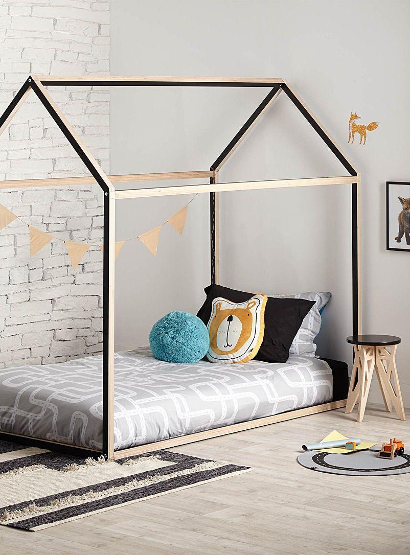 la maison lit simple noire gautier studio meubles d 39 appoint pour enfants en exclusivit web. Black Bedroom Furniture Sets. Home Design Ideas