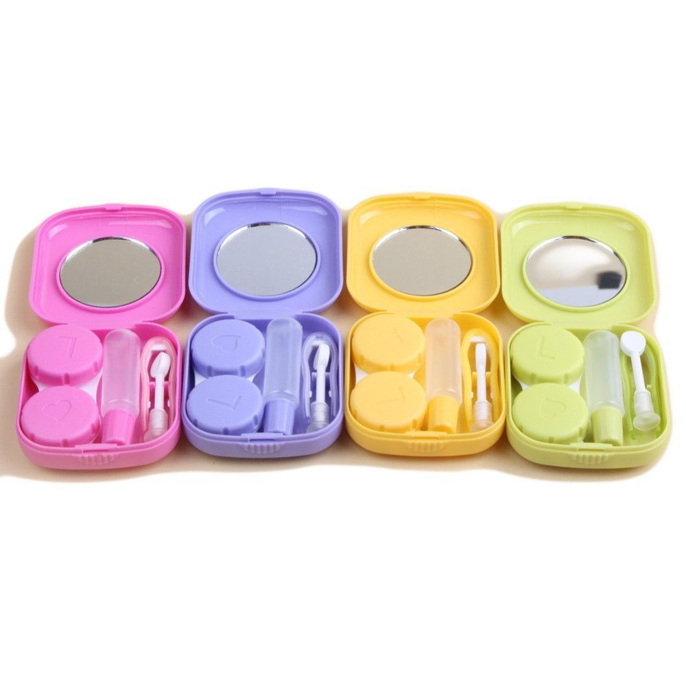 New Cute Pocket Mini Contact Lens Case 4 Colors Travel Kit Easy Carry Mirror Container Drop Shipping With Images Contact Lenses Case