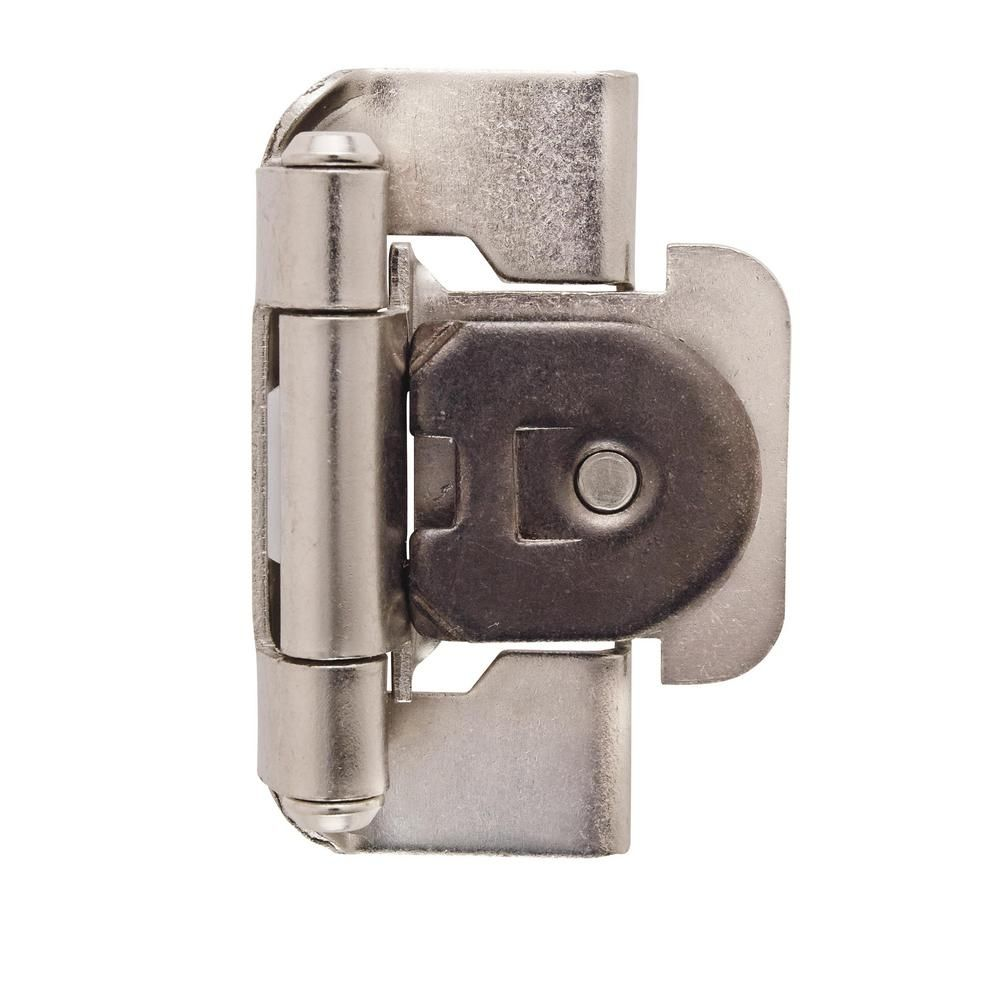 Amerock 1 2 In 13 Mm Satin Nickel Overlay Single Demountable Partial Wrap Hinge 2 Pack Bpr8719g10 Plates On Wall Hinges For Cabinets Overlay Hinges