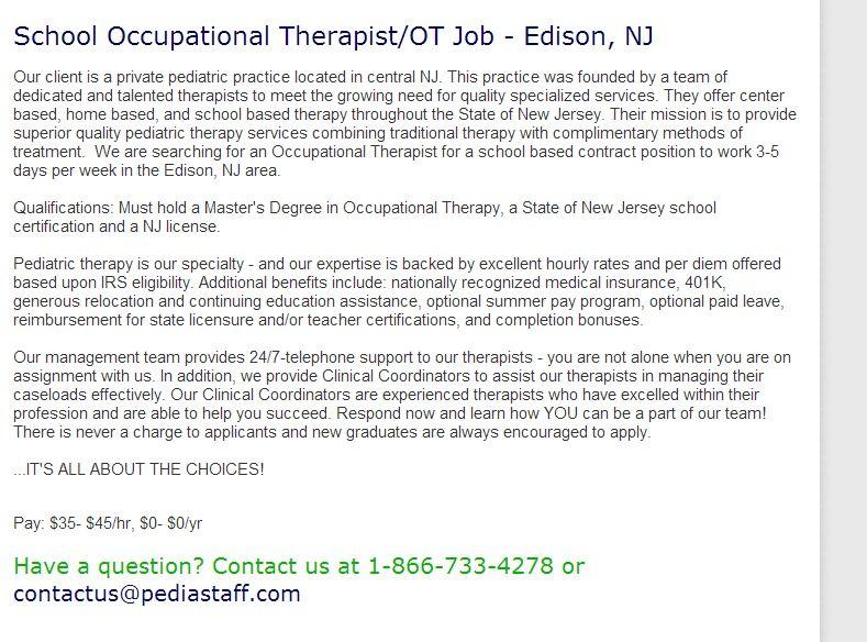 School Occupational Therapist Ot Job Edison Nj Our Client Is A