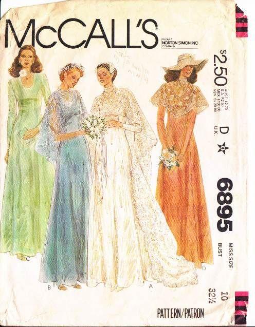 McCalls 6895 Bridal, Wedding, Bridesmaid Dress, Cape Sewing Pattern ...