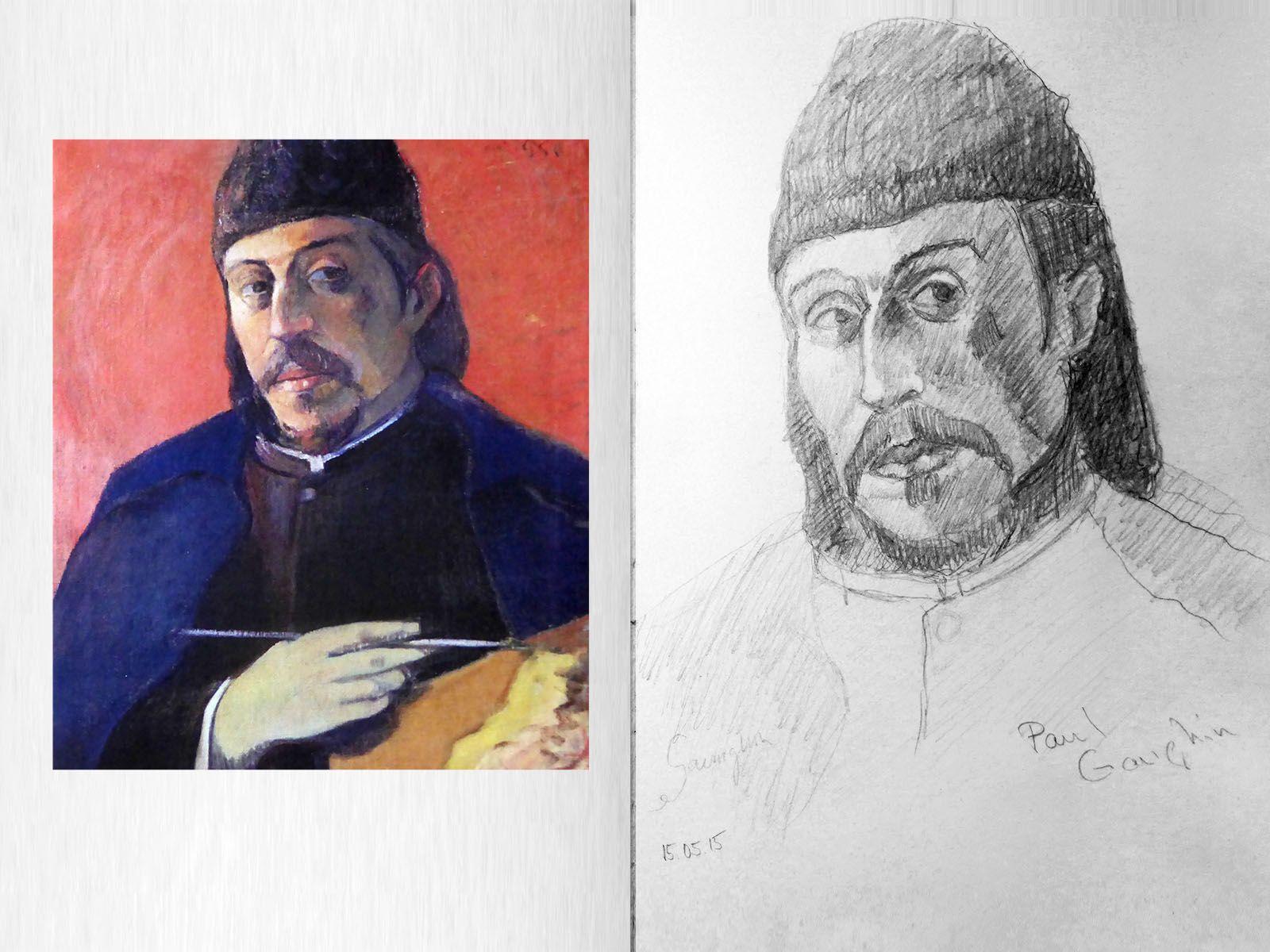 Studie zu Paul Gauguin, Selbstbildnis, Michael Basler, www.aquarts.de