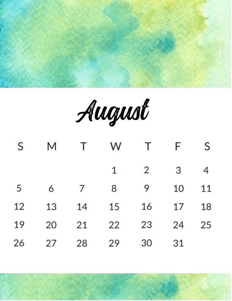 Free template 2018 august title calendar calendar