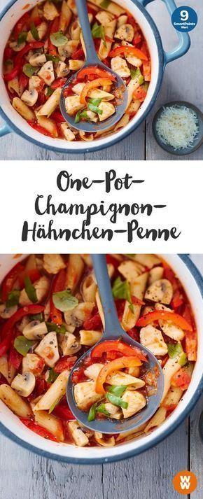 One-Pot-Champignon-Hähnchen-Penne Rezept | WW Deutschland #onepotpastarecettes