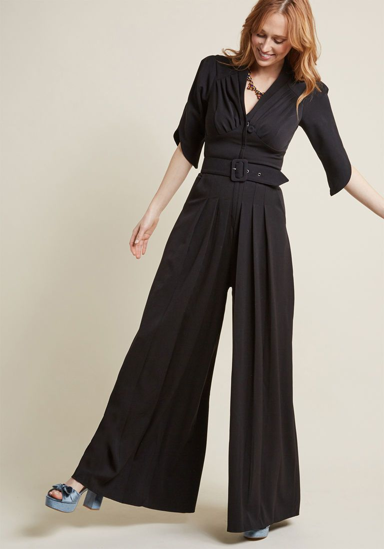 f6fc2be6d2 Miss Candyfloss The Embolden Age Jumpsuit in Noir in 4X - by Miss Candyfloss  from ModCloth