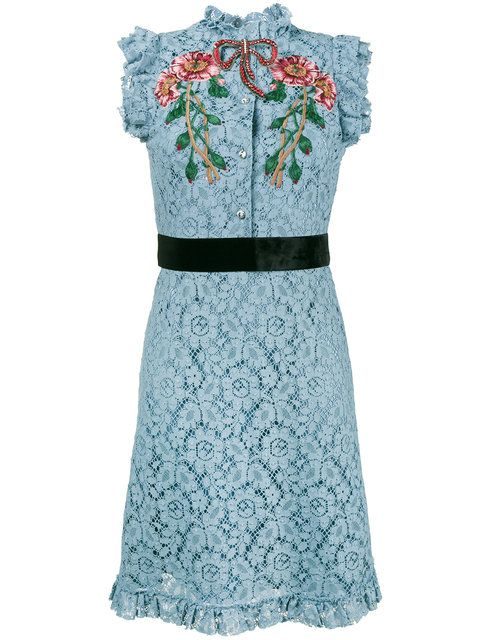 12b41568bc7 Gucci Embroidered Cluny Lace Dress in 2019