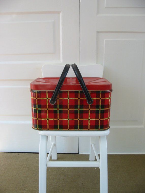 red plaid metal basket