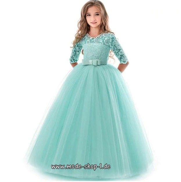 Elegantes High-End Mädchenkleid mit Spitze in Mintgrün ...