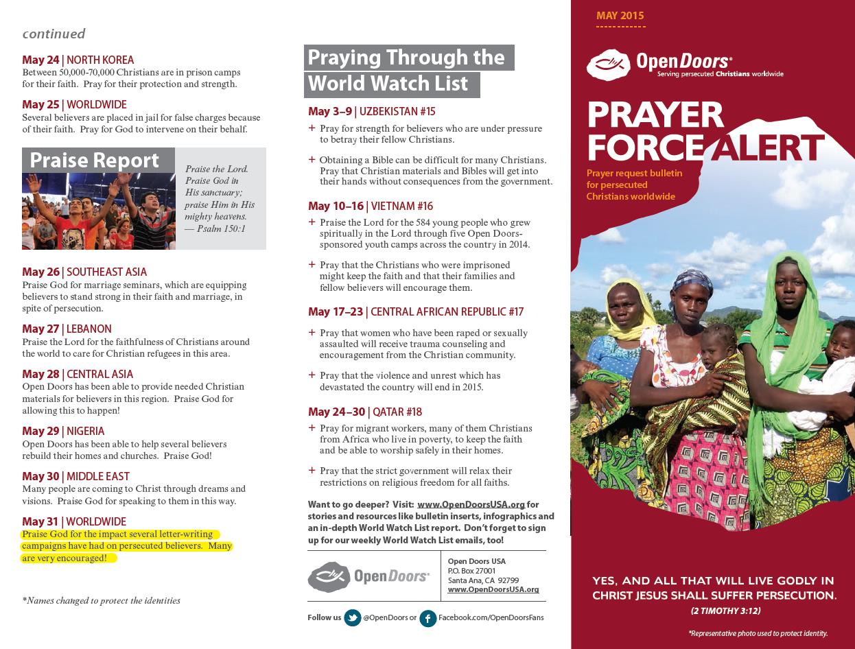 Prayer calendar for those suffering persecution
