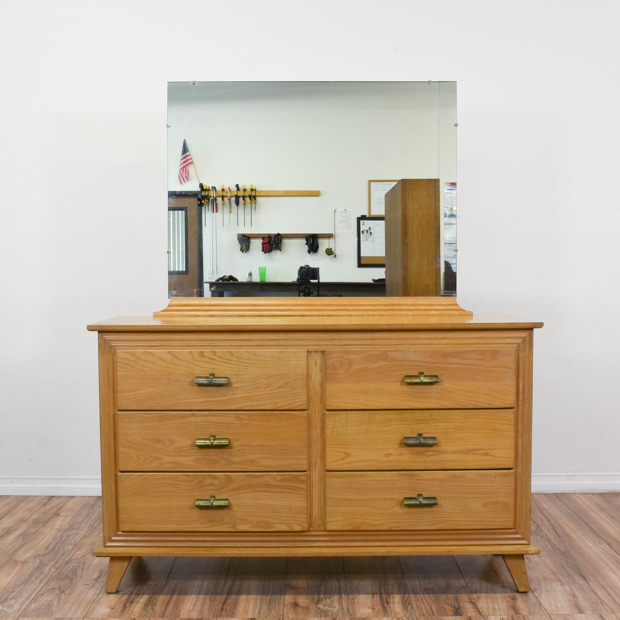 mirrored century mid modern fish vanity dresser rivoli mirror with