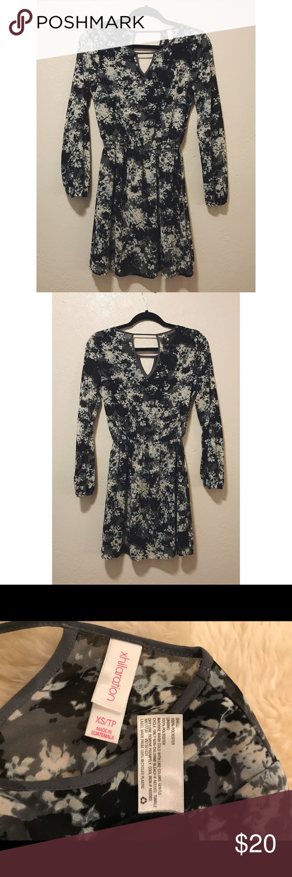 Long sleeve xs black gray u white flowy dress white flowy dress