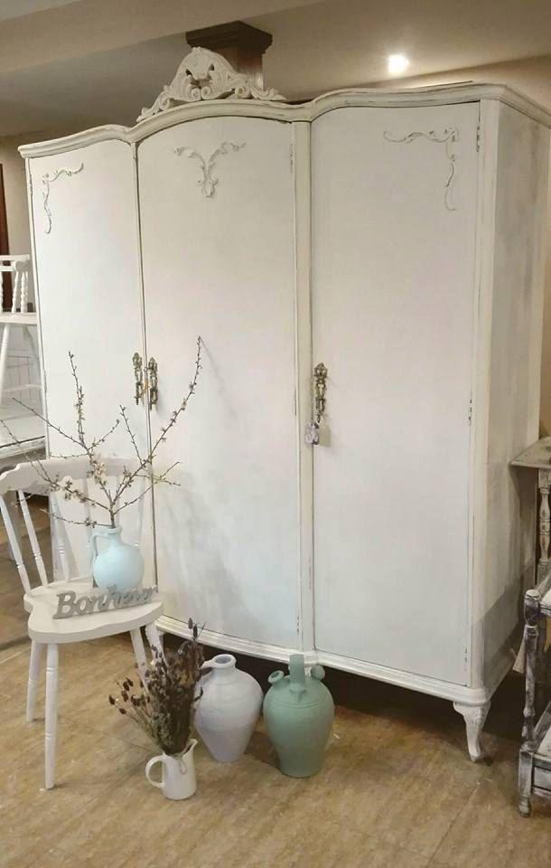 Armario blanco y azul antiguo recuperado provenzal madera con espejo ...
