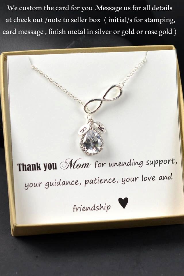Thank You Gift Present Necklace Personalised Card Mother of the Bride/Groom Bridesmaids gPhJLXZ