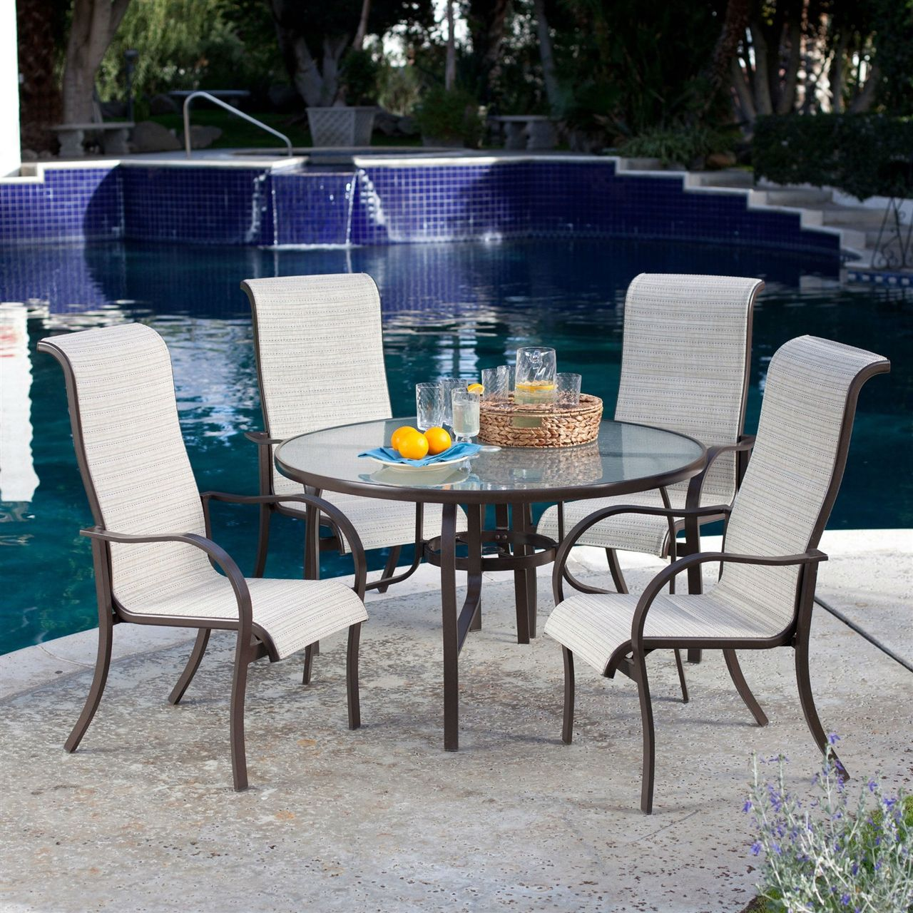 5 PC Patio Furniture Dining Set, Round Table, 4 Padded Sling Chairs ...