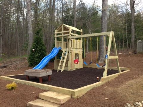Leveling Playground With Timber And Mulch Backyard Playground Kids Backyard Playground Sloped Backyard