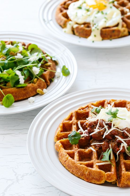 Savory Cornbread Waffles Love And Olive Oil Recipe Savoury Food Waffle Recipes Food