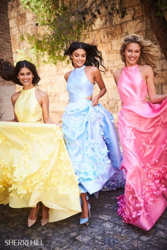 Sherri Hill 51116 Yellow Blue Pink Ballgowns with Floral Appliqué Ypsilon Dresses Prom Pageant Homecoming Sweethearts School Dance Inspiration Special Occasion Formal Formalwear