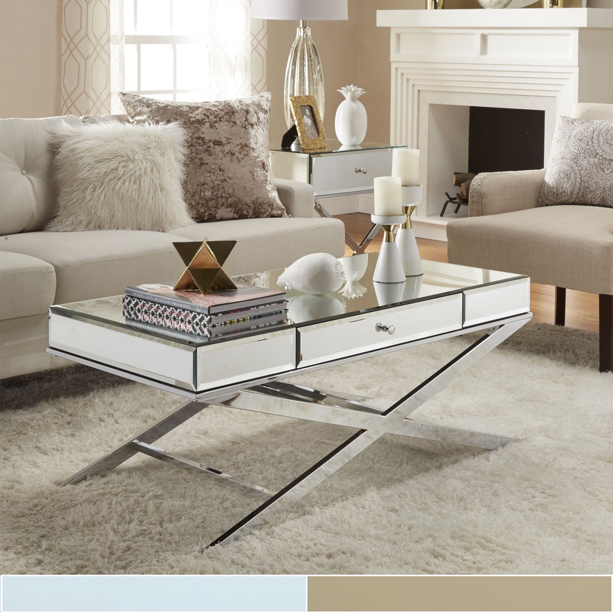Camille X-Base Beveled Mirrored 1-drawer Coffee Table by Inspire Q  (Champagne