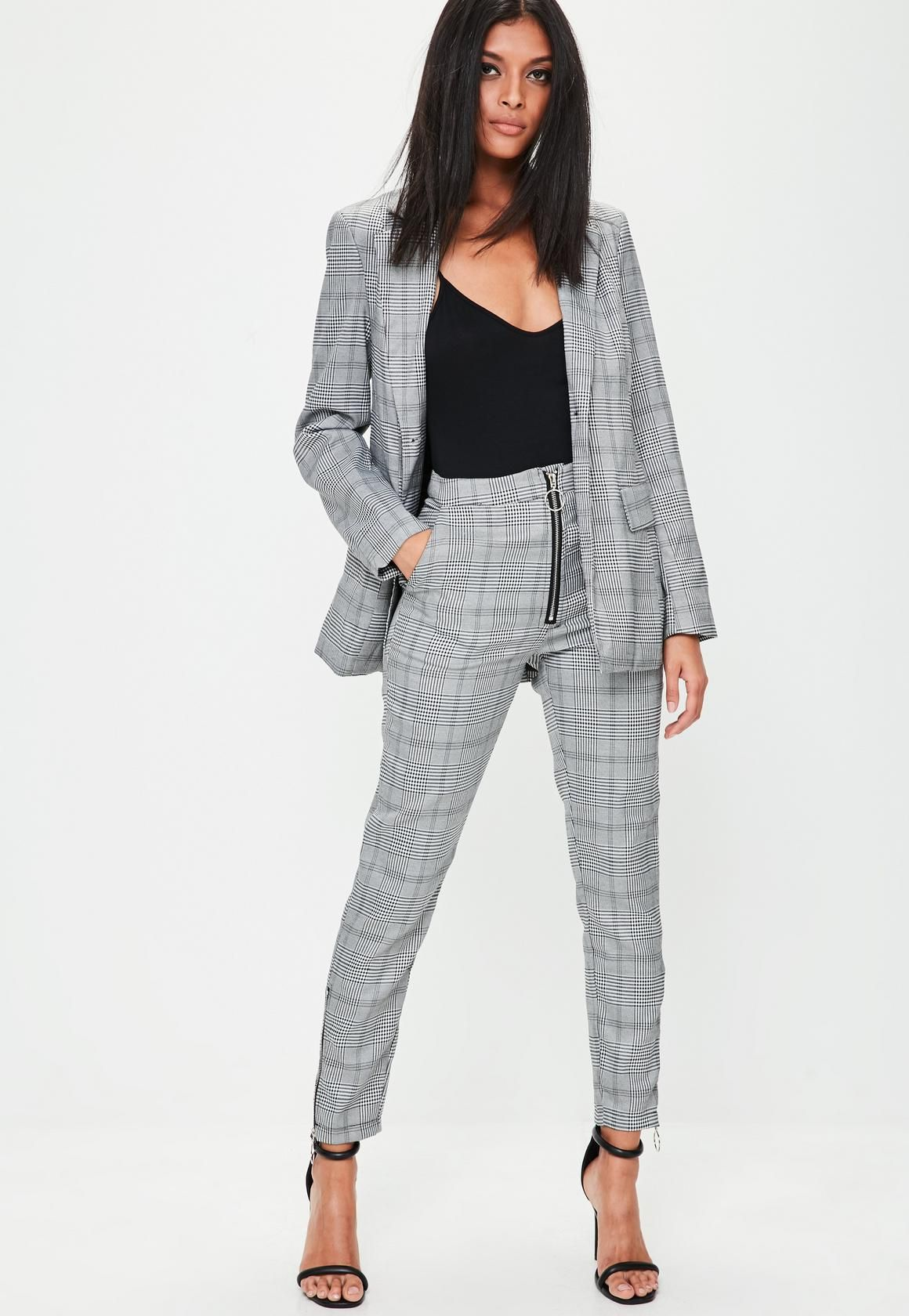 e0d8366e20e7 Missguided - Grey Prince of Wales Checked Skinny Trousers | Women's ...