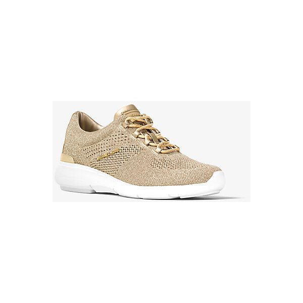 MICHAEL Michael Kors Skyler Metallic Knit Trainer ($105) ❤ liked on  Polyvore featuring shoes