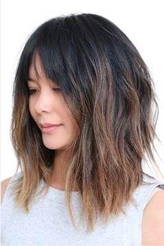 Ahn Co A Line Layered Lob With Soft Bangs Long Bob Hairstyles Hair Styles Medium Hair Styles