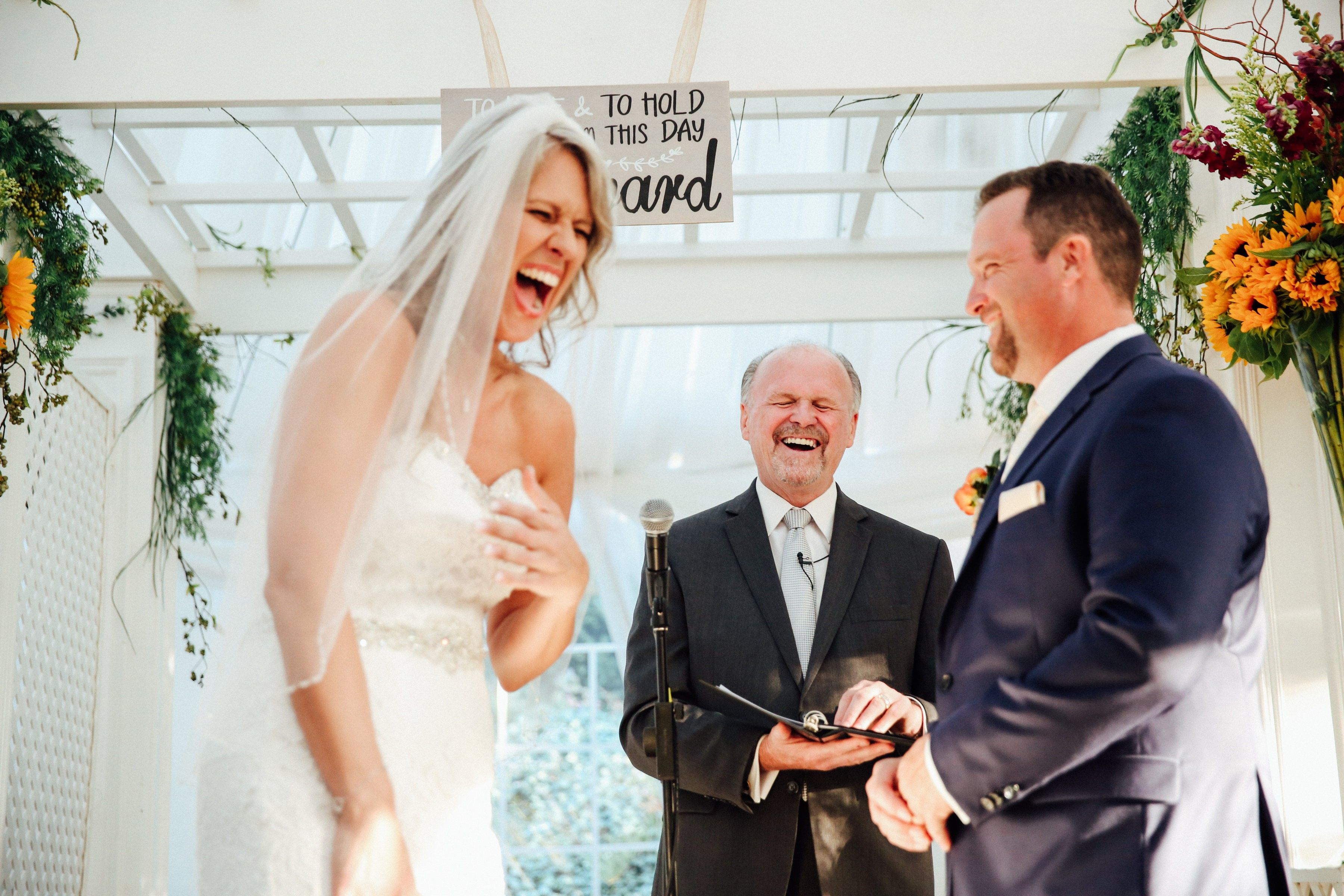 Enduring Promises Wedding Officiants Love To Have Fun During Wedding Ceremonies Here Is Jim Giles Sharing A Laugh Wedding Minister Wedding Officiant Wedding