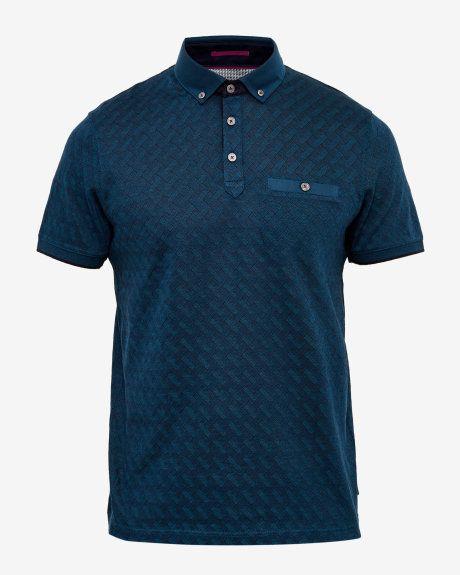 Jacquard polo shirt - Teal  b6a00a389d3b4