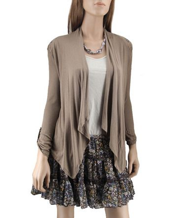 Tea N Rose Taupe Waterfall Cardigan | Clothes & Accessories ...