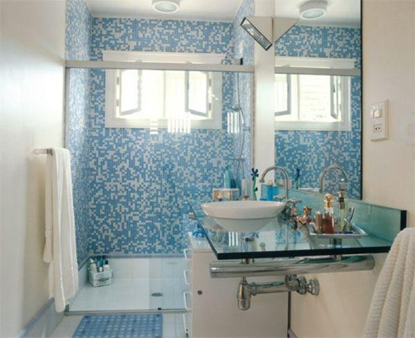 waschbecken schrank kleines bad fliesen blau weiß | bad ch24, Hause ideen