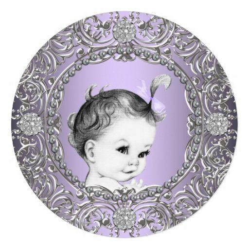 Elegant Fancy Purple and Silver Baby Girl Shower Custom Invitation