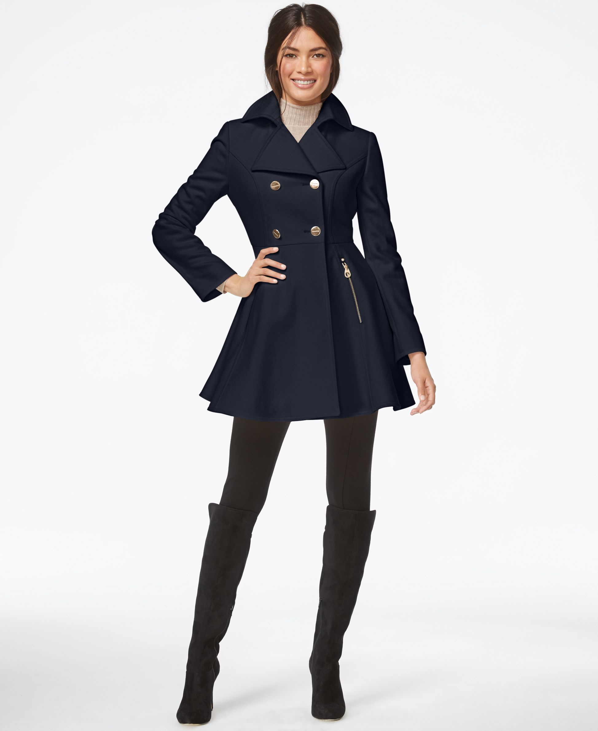 bd17c68ed FINALLY the Perfect Peacoat- Navy Small Laundry by Shelli Segal  Double-Breasted Flared Peacoat - Coats - Women - Macy's