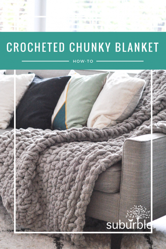 0f4aaaa9a6 The chunky knitted blanket has become a staple in home decor. But what  about the crocheted look  A single crocheted blanket is an easy and stylish  project!