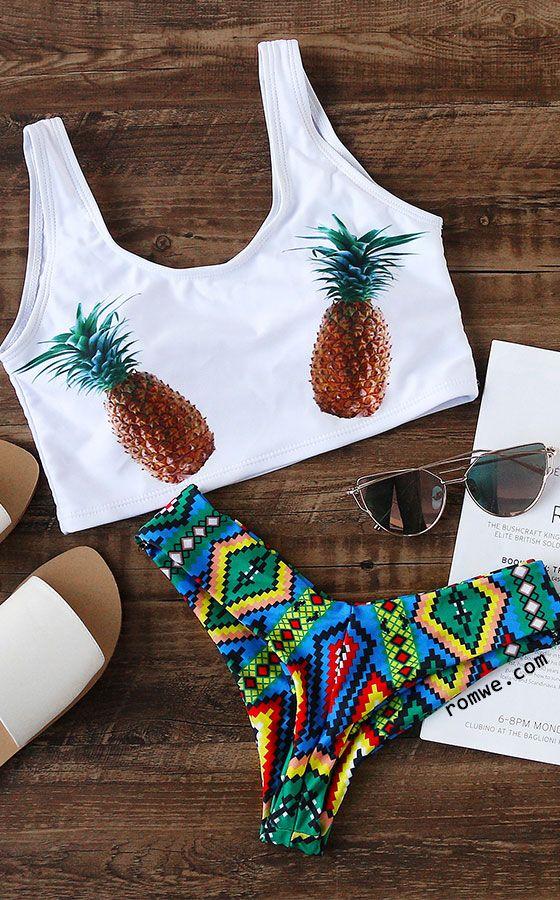 6f5897662d White Pineapple Print Sexy Bikini Set in 2019 | [Summer] Fashion ...
