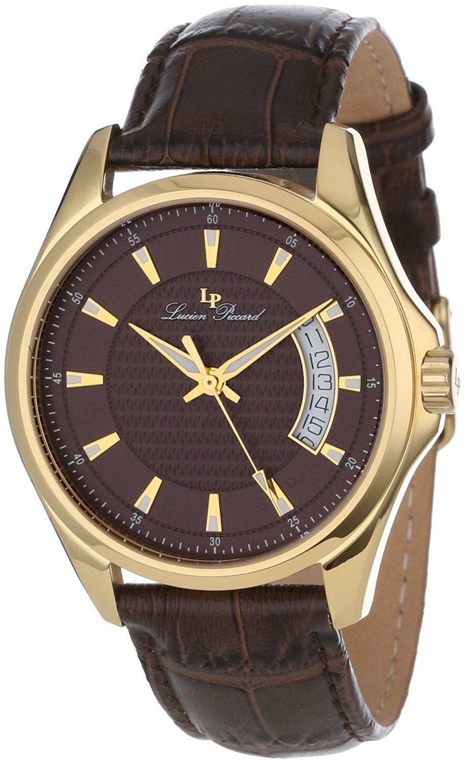 lucien piccard men s 98660 yg 04 excalibur brown textured dial lucien piccard men s 98660 yg 04 excalibur brown textured dial brown leather watch