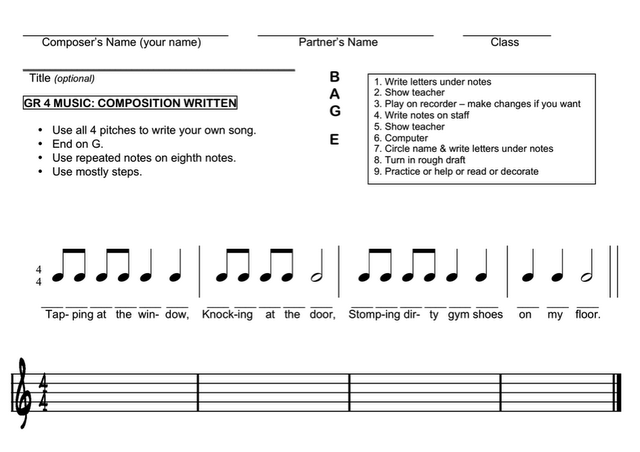 recorder composition worksheet for fourth (3rd) grade. I like how ...