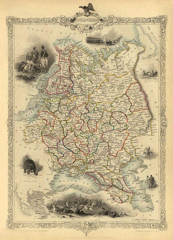 Russia map (european part) - Finland map - Historic map fine print ...