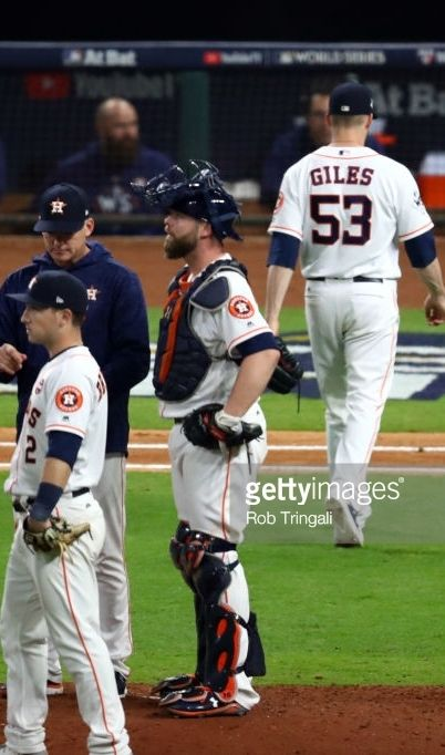 half off 19cf7 339ce Alex Bregman, A J Hinch,Brian McCann, Ken GIles, HOU    World Series GAME 4  Oct 28, 2017 v LAD