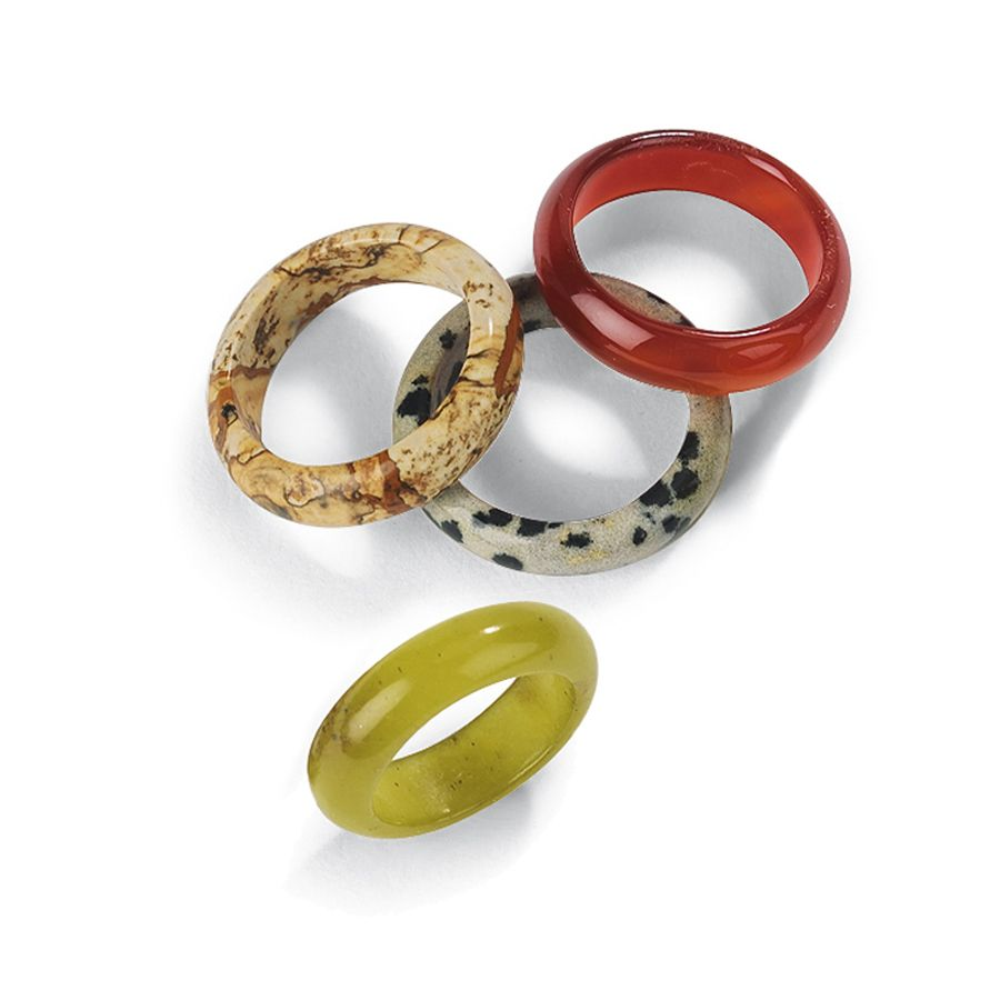 Solid Gemstone Rings - A great compliment to our gemstone jewelry.  Box comes with 48 rings fashioned from various stones in mixed sizes.  1 unit contains 48 rings.