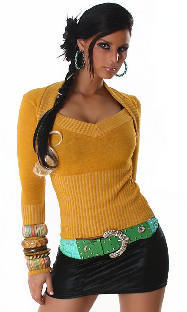 Bolero-Pullover-V-Ausschnitt-Pulli-Sweatshirt-Sweater-Damen-Strick-Mode-Groesse