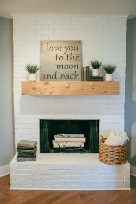 White Brick Fireplace With Wood Mantle Joanna Gaines