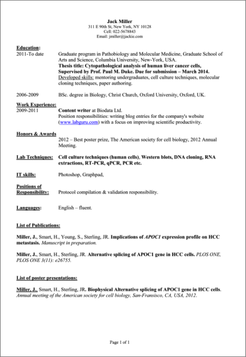 Tips for Preparing a CV for Scientists Student resume