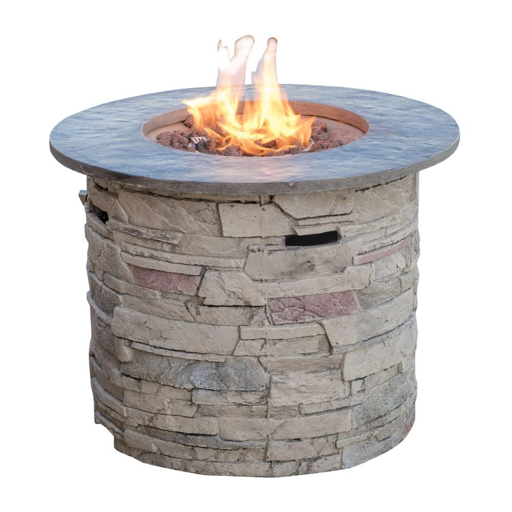 Noble House Ophelia 32 In X 24 In Circular Mgo Propane Fire Pit In Natural Stone With Grey Top 7549 The Home Depot Propane Fire Pit Outdoor Fire Pit Table Fire Pit