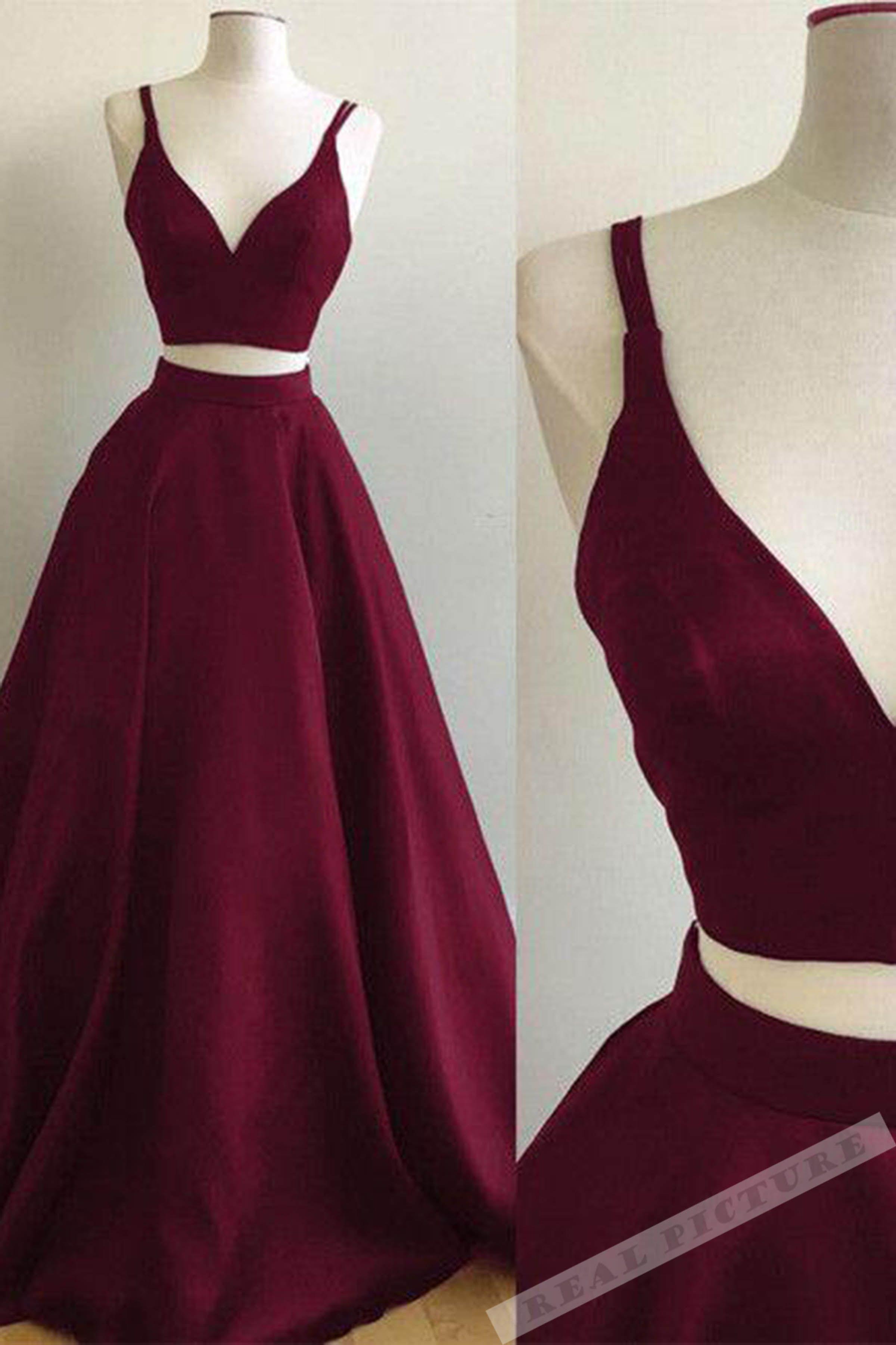 Burgundy satins two pieces vneck long prom dressessummer dresses