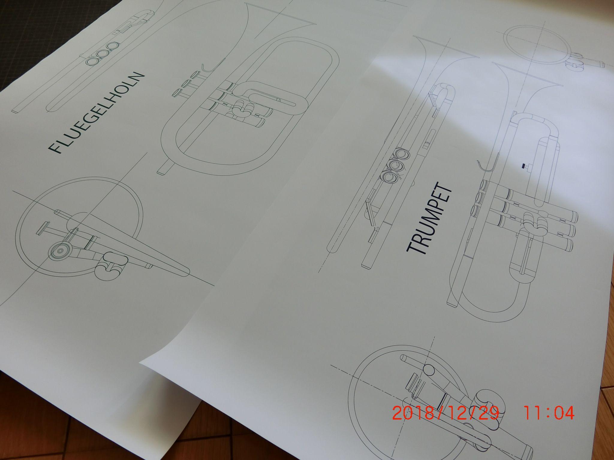 ペットとホルンの図面ができた ホルン 図面 ペット