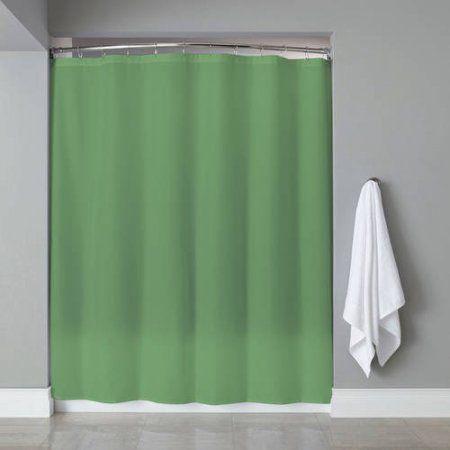 Vinyl Shower Curtain Liner Chrome Roller Hook Set Anti Mildew Green